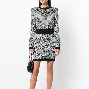 BALMAIN Black Jacquard Floral Knit Mini Dress